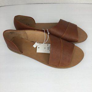 Lissa Asymmetrical Slide Sandals Cognac Color